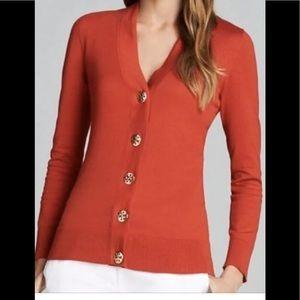 Tory Burch 100% Cotton Red Cardigan Sz XL